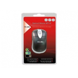 Mouse Nilox MT10 Optico PS2 USB Black