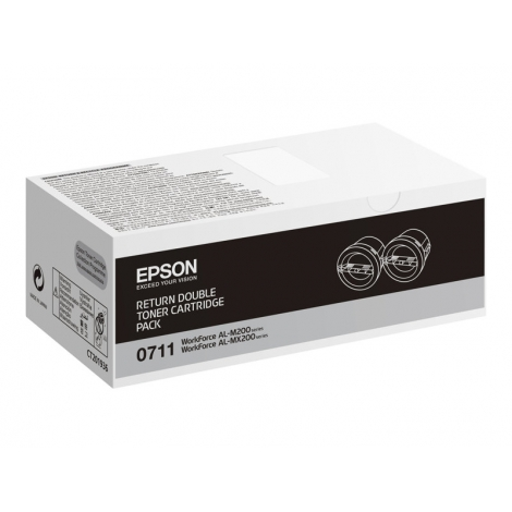 Toner Epson 0711 Black Dualpack Workforce AL-M200 AL-MX200 2X 2500 PAG Retornable