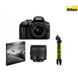 Camara Digital Nikon D3400 + AFP DX18/55 NO VR + 55/200 Vrii + Libro + Tripode Black