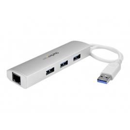 HUB Startech 3 Puertos USB 3.0 + RJ45 Silver