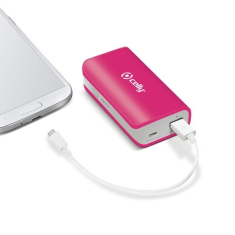 Bateria Externa Universal Celly 4.000MAH USB Pink