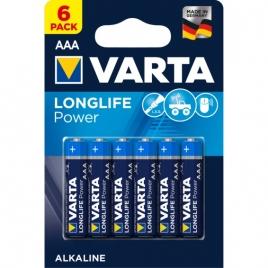 Pila Alcalina Varta Longlife Power Tipo AAA LR03 Pack 6