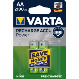 Pila Recargable Varta Power Tipo AA 2100MAH Ready TO USE Pack 2