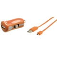 Cargador USB HT 5V 2.1A Orange para Coche + Cable Micro USB