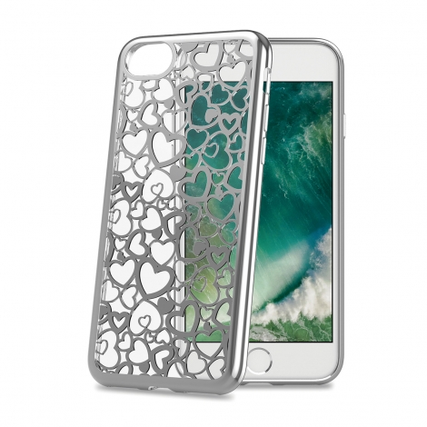 Funda Movil Back Cover Celly Laser Transparente Heart 1 para iPhone 7/8