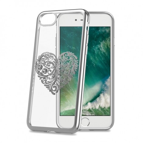 Funda Movil Back Cover Celly Laser Transparente Heart 2 para iPhone 7/8