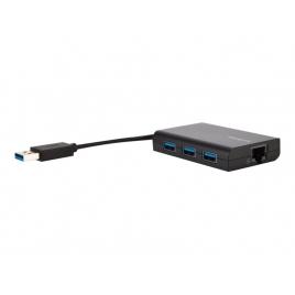 HUB Targus 3 Puertos USB 3.0 + 1 Puerto Fast Ethernet Black