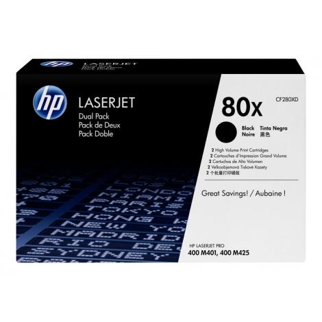 Toner HP 80X Black Gran Capacidad Dualpack 400 M401 M425 2X 6900 PAG