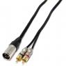 Cable Kablex Audio XLR 3 PIN Macho / 2X RCA Macho 1M