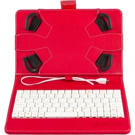 "Funda Tablet Silver HT 7"" - 8"" + Teclado USB red / White"