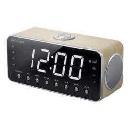 Radio Despertador Muse M-196 CWT + Reproductor MP3 Clock Radio Wood